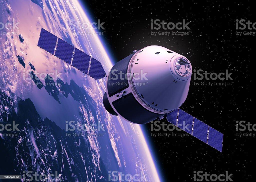 Crew Exploration Vehicle Orbiting Earth stock photo