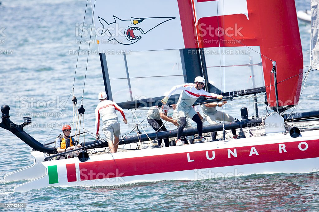 Crew of the Luna Rosa Racing Yacht stock photo