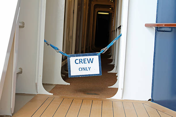 Crew Only Sign 2 stock photo