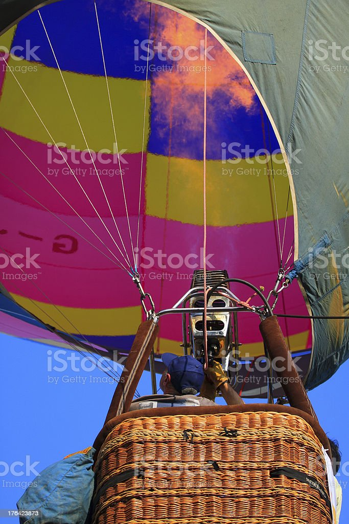 Crews operation hot gas into balloon royalty-free stock photo
