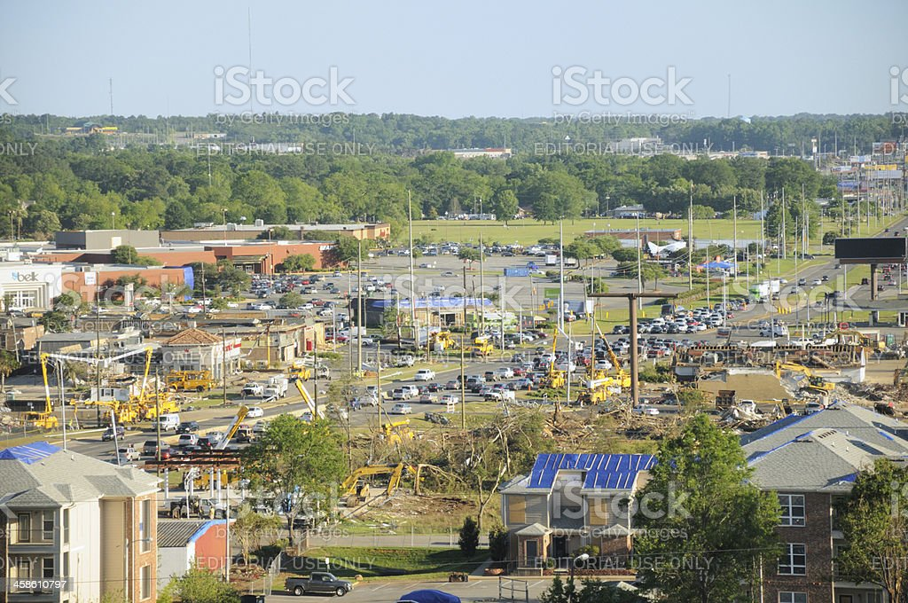 Crews restoring power after tornado stock photo