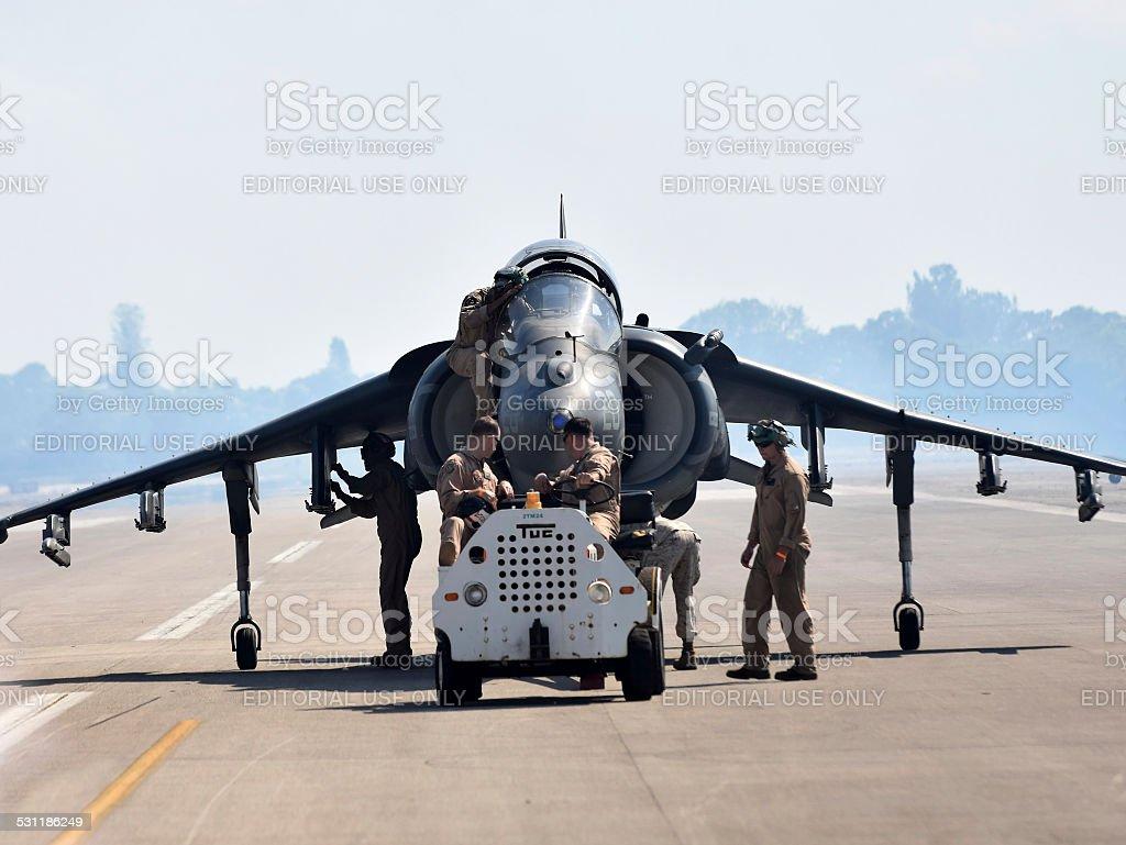Crews retrieve Harrier fighter jet stock photo