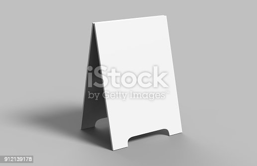 628470570 istock photo Crezon A-frame sandwich boards for design mock up and presantation. white blank 3d render illustration. 912139178