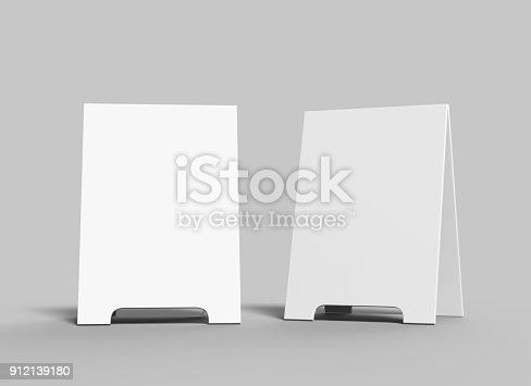 628470570 istock photo Crezon A-frame sandwich boards for design mock up and presantation. white blank 3d render illustration. 912139180