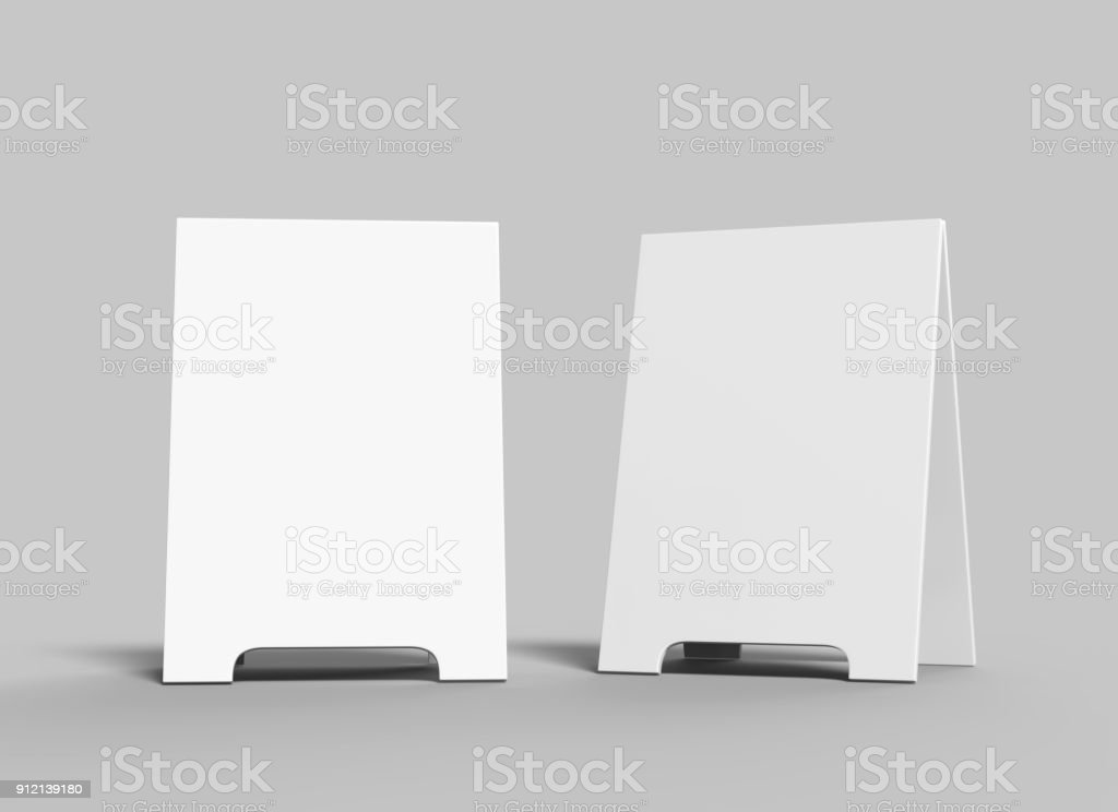 Crezon A-frame sandwich boards for design mock up and presantation. white blank 3d render illustration. stock photo