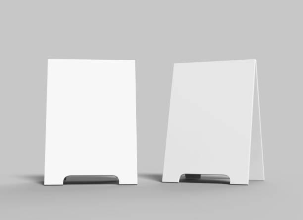 Crezon A-frame sandwich boards for design mock up and presantation. white blank 3d render illustration. stock photo