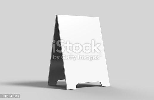 628470570 istock photo Crezon A-frame sandwich boards for design mock up and presantation. white blank 3d render illustration. 912139234