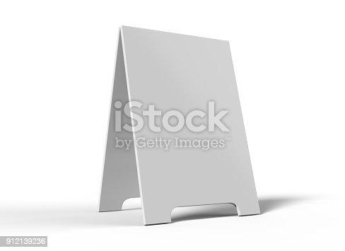628470570 istock photo Crezon A-frame sandwich boards for design mock up and presantation. white blank 3d render illustration. 912139236