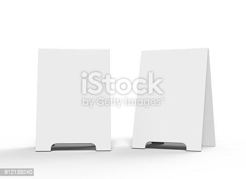 628470570 istock photo Crezon A-frame sandwich boards for design mock up and presantation. white blank 3d render illustration. 912139240