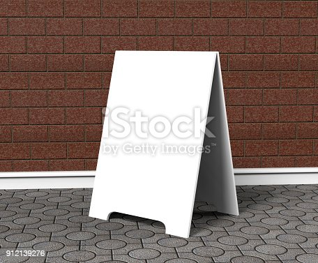 628470570 istock photo Crezon A-frame sandwich boards for design mock up and presantation. white blank 3d render illustration. 912139276