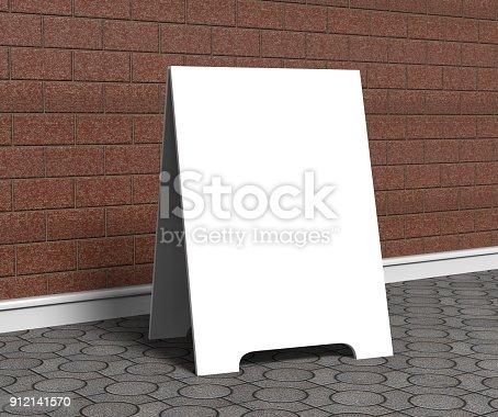 628470570 istock photo Crezon A-frame sandwich boards for design mock up and presantation. white blank 3d render illustration. 912141570