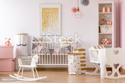 istock Crib nook with golden dots poster 695533914