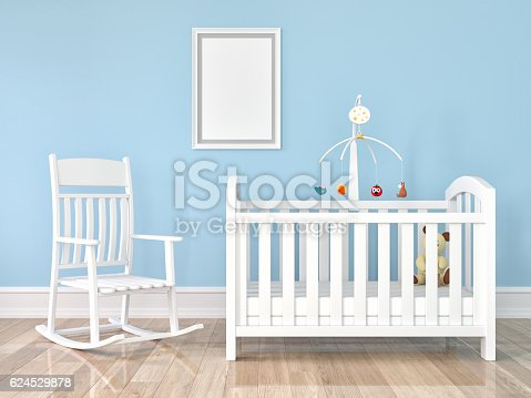 619975932 istock photo Crib, rocking chair with frame on wall 624529878
