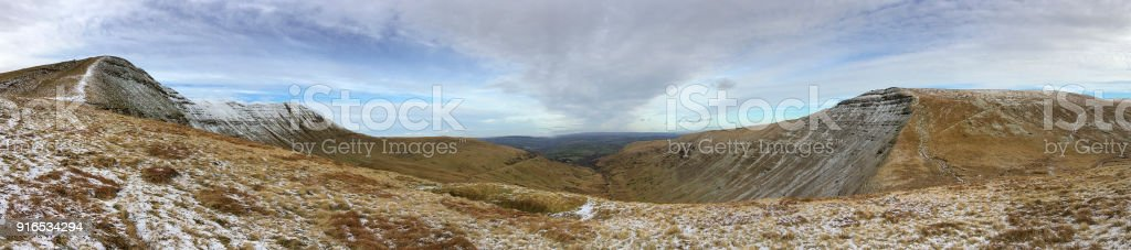 Cribyn and Fan y Big mountain ridges in a panoramic format stock photo