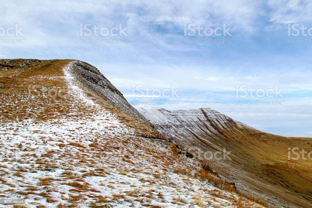 Cribyn next to Pen y Fan with Winter Snow stock photo