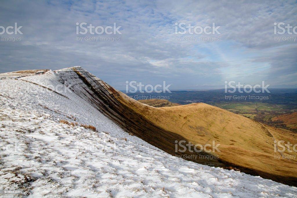 Cribyn summit with Winter Snow on the peak. stock photo