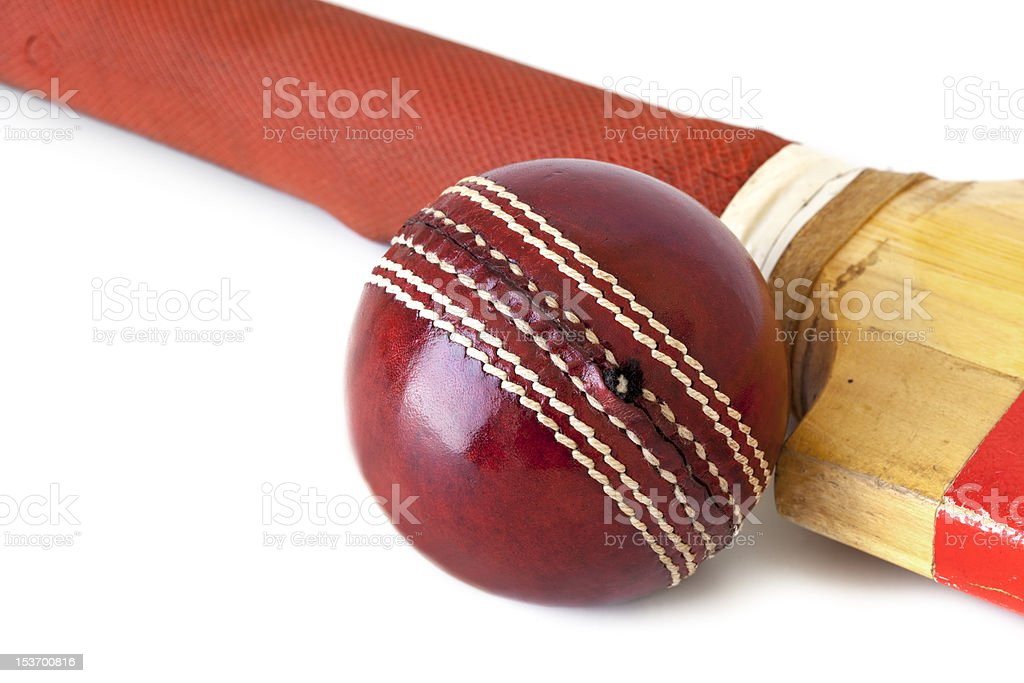 Cricket Ball and Bat over White stock photo