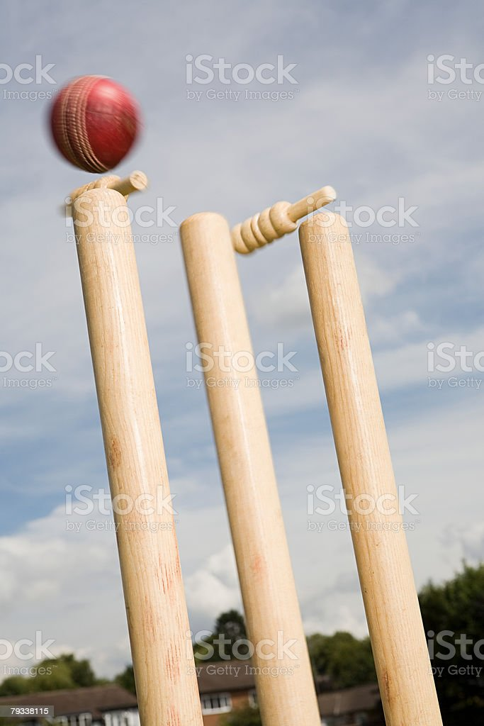 A cricket ball and stump 免版稅 stock photo