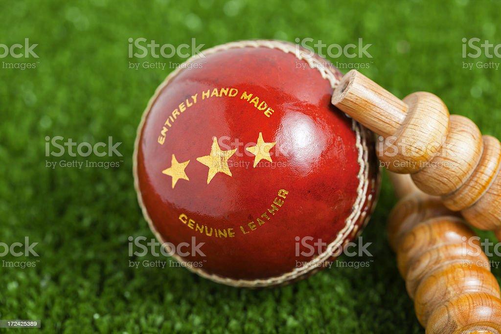 Cricket Ball & Bails royalty-free stock photo