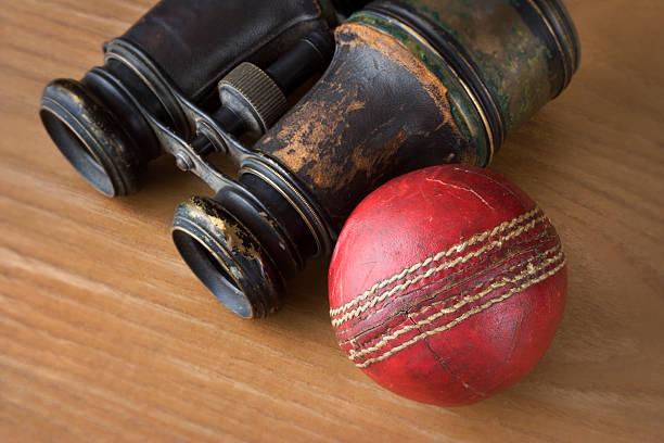 Cricket Ball & Binoculars stock photo