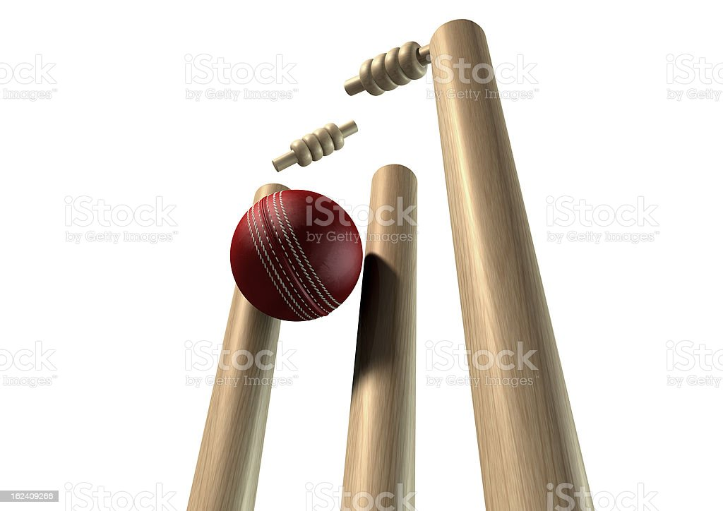 Cricket Ball Hitting Wickets Perspective Isolated royalty-free stock photo