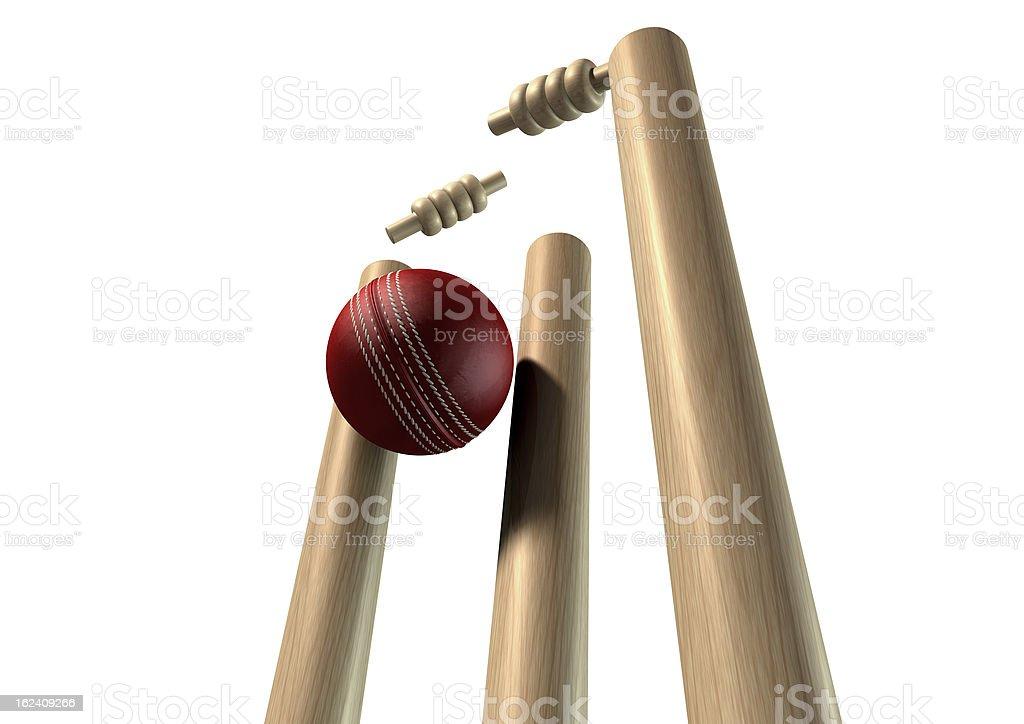 Bola de críquet pulsando Wickets perspectiva aislado - foto de stock