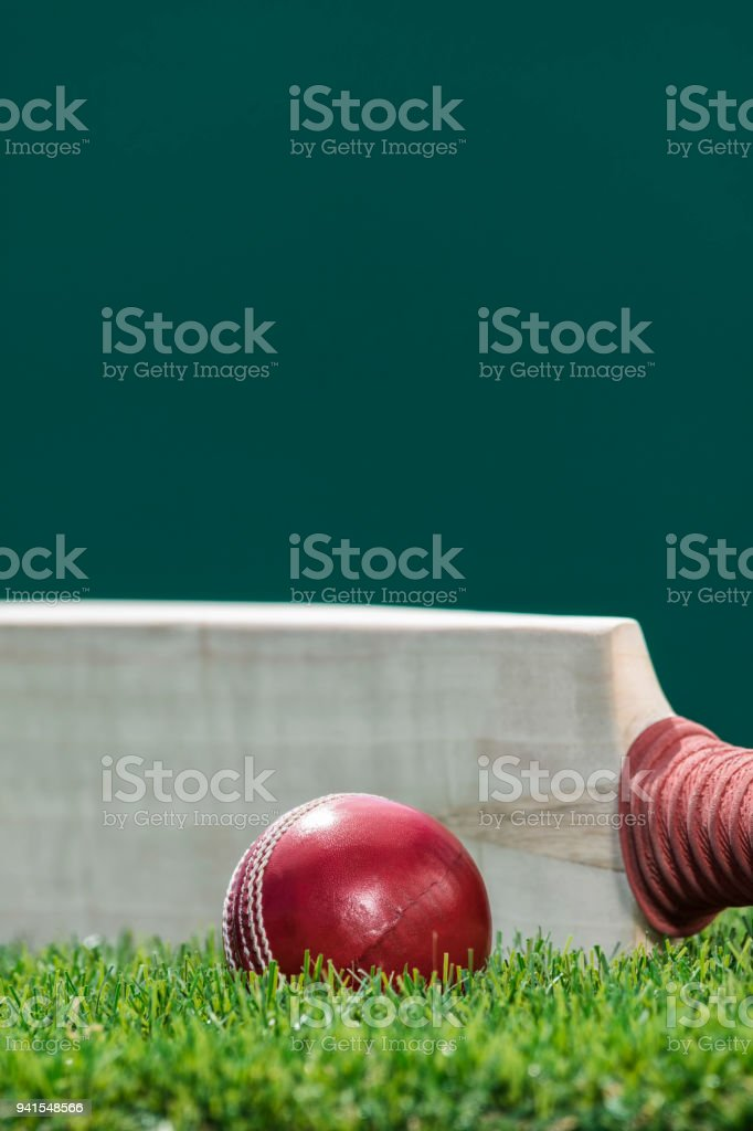 A Cricket ball sitting in the grass with a bat on edge stock photo