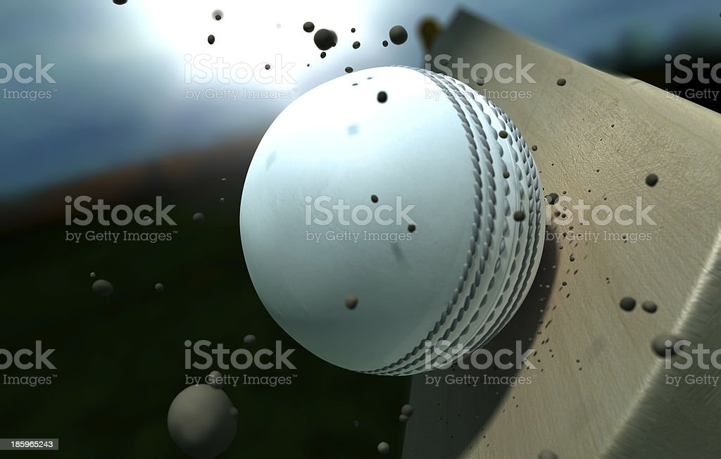 Cricket Ball Striking Bat With Particles At Night stock photo