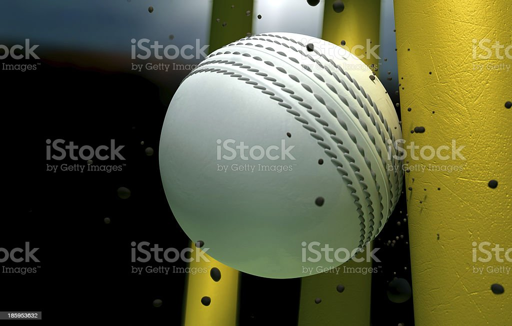 Cricket Ball Striking Wickets With Particles At Night stock photo
