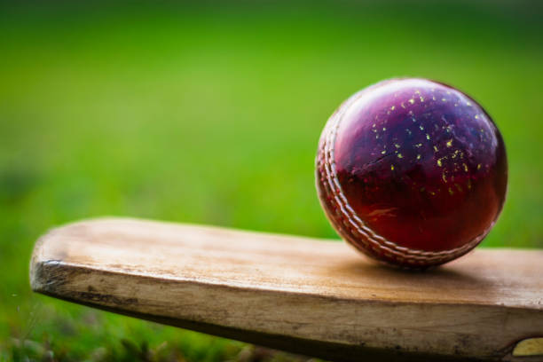 Cricket ball with bat Cricket ball with bat sport of cricket stock pictures, royalty-free photos & images