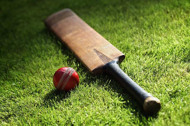 クリケットバット、ボール ストックフォト