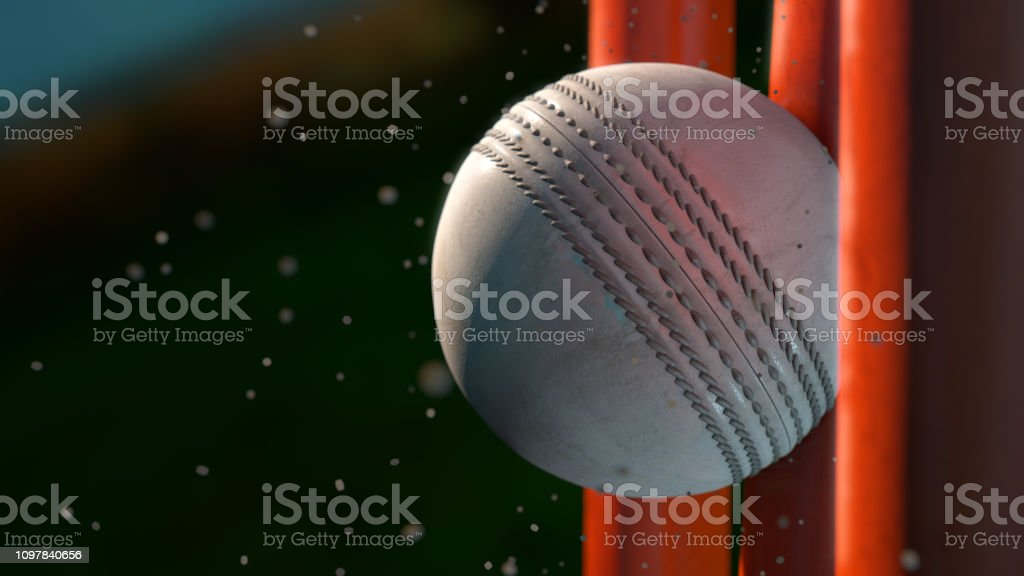Cricket Bat Hitting Stumps stock photo