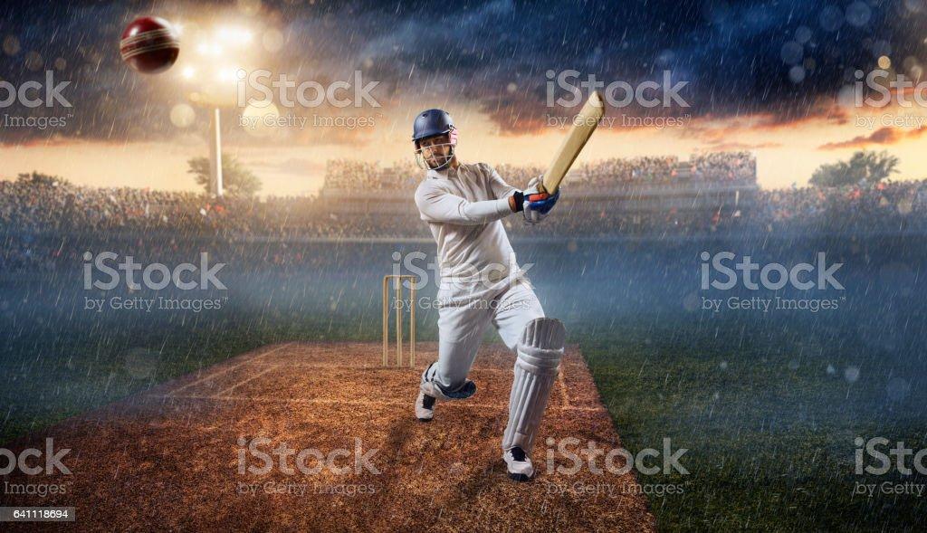 Cricket: Batsman on the stadium in action stock photo