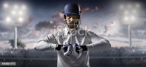 istock Cricket: Batsman on the stadium 640931472
