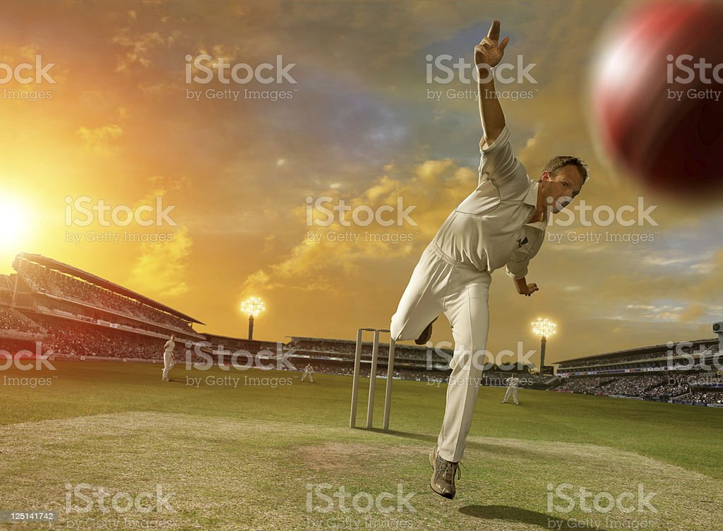Cricket Bowler in Action royalty-free stock photo