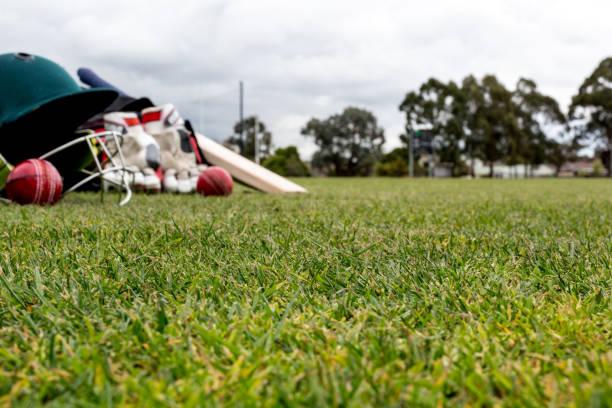 Cricket utrustning bildbanksfoto