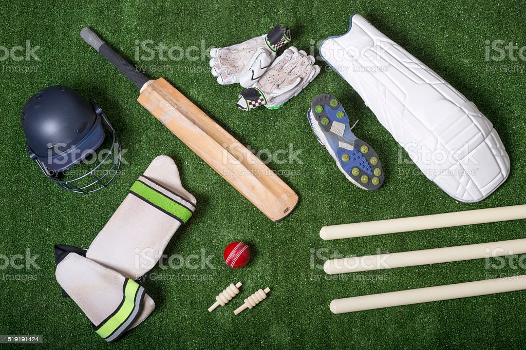 Cricket equipment stock photo