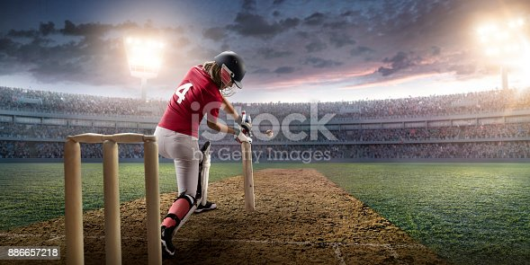 Cricket female player on a professional arena. Beautiful athlete with sport bat in unbranded uniform on big arena. The player beats the ball.