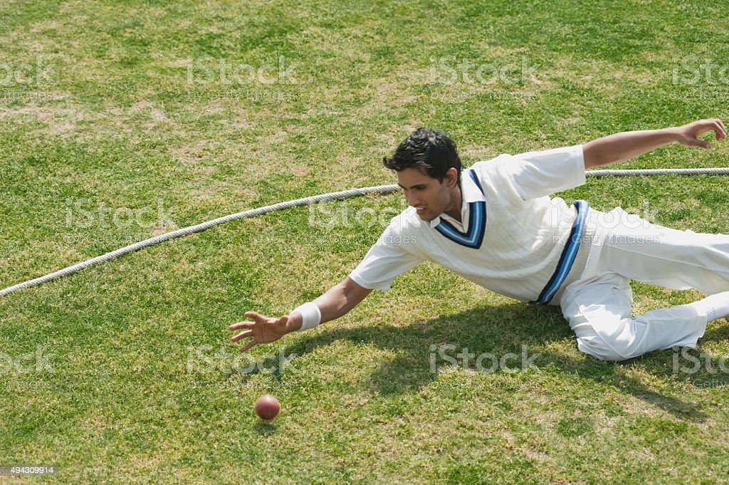 Cricket fielder diving to stop a ball near boundary line stock photo