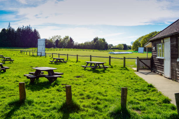 Cricket Ground and Picnic Tables - Wide Angle stock photo