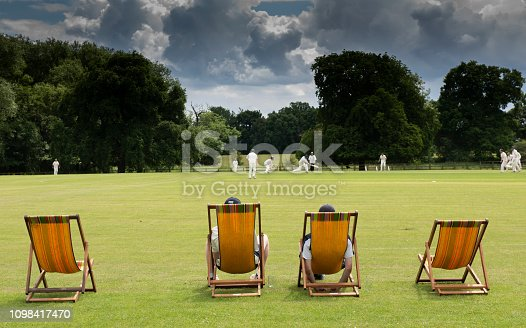watching a cricket match on a typical English cricket ground in summer