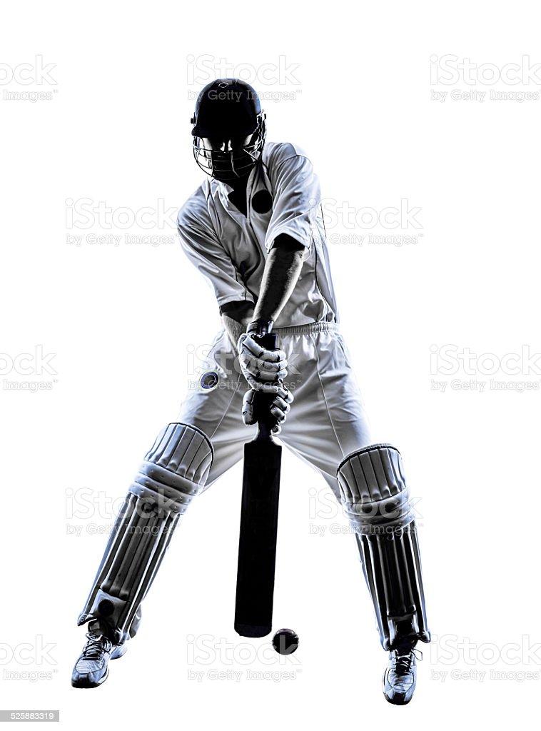 Cricket player  batsman silhouette stock photo