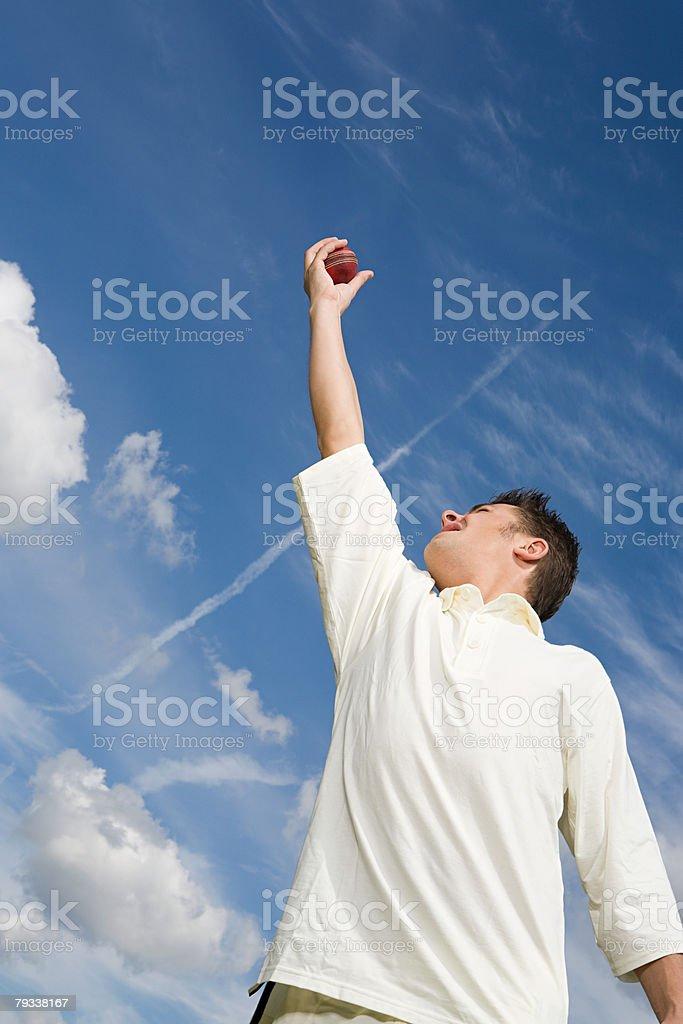 A cricket player catching a cricket ball 免版稅 stock photo