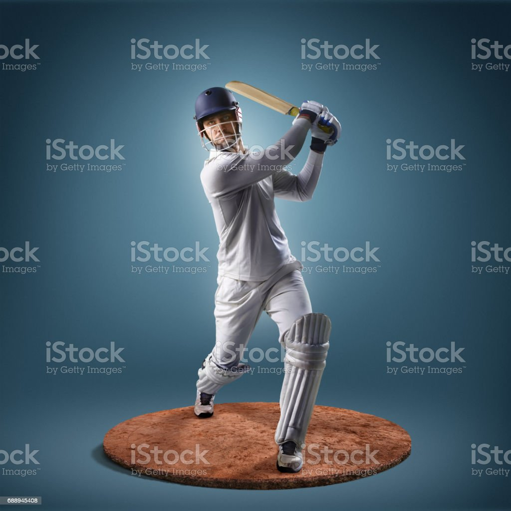 Cricket player in action stock photo