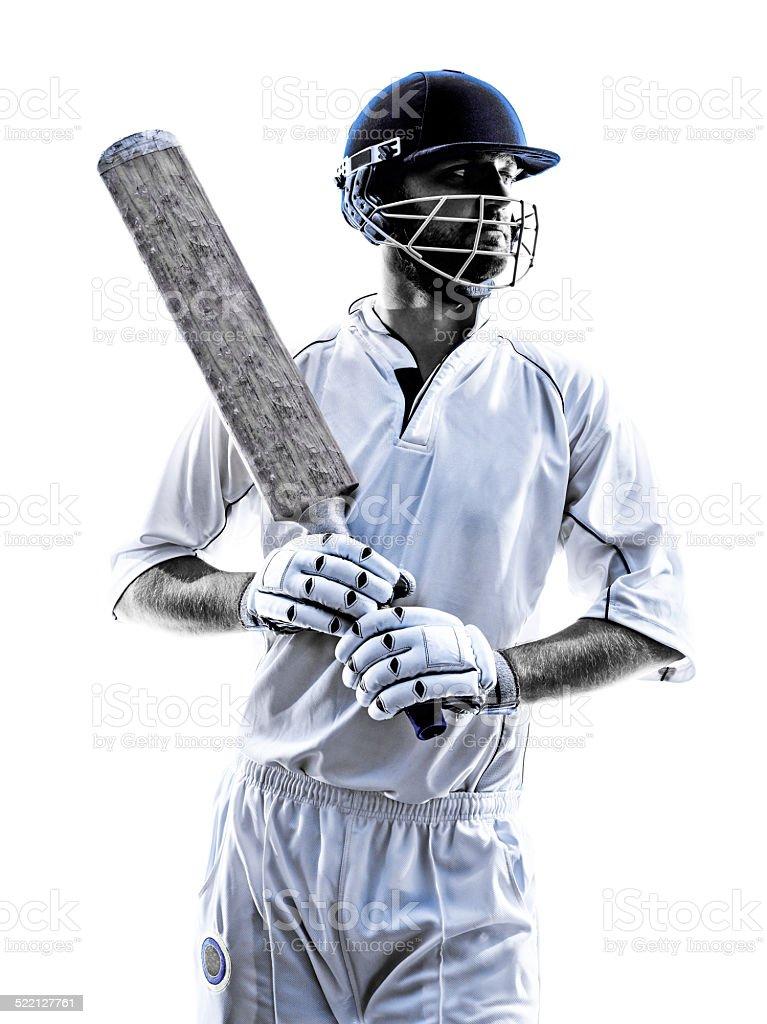 Cricket player  portrait silhouette stock photo