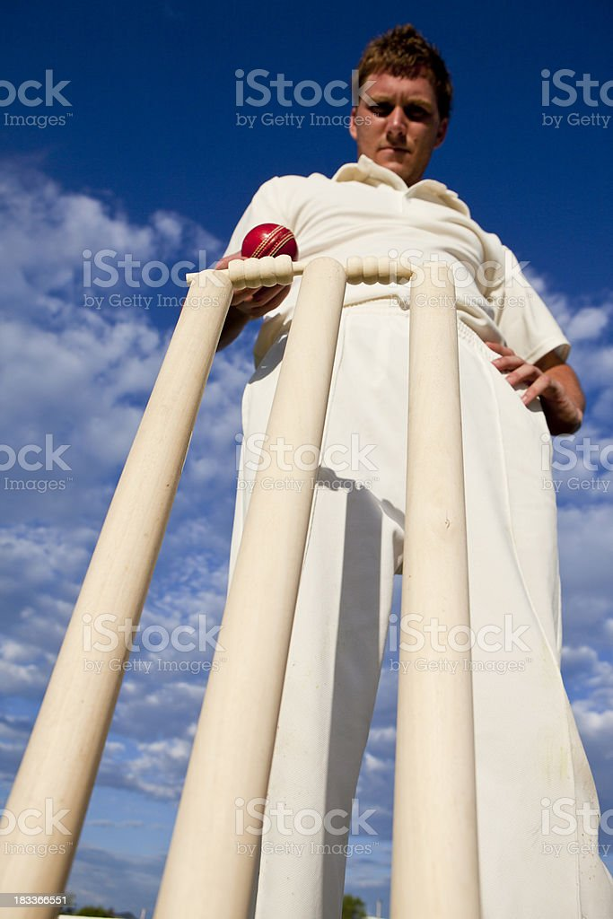 Cricket player standing behind wickets stock photo
