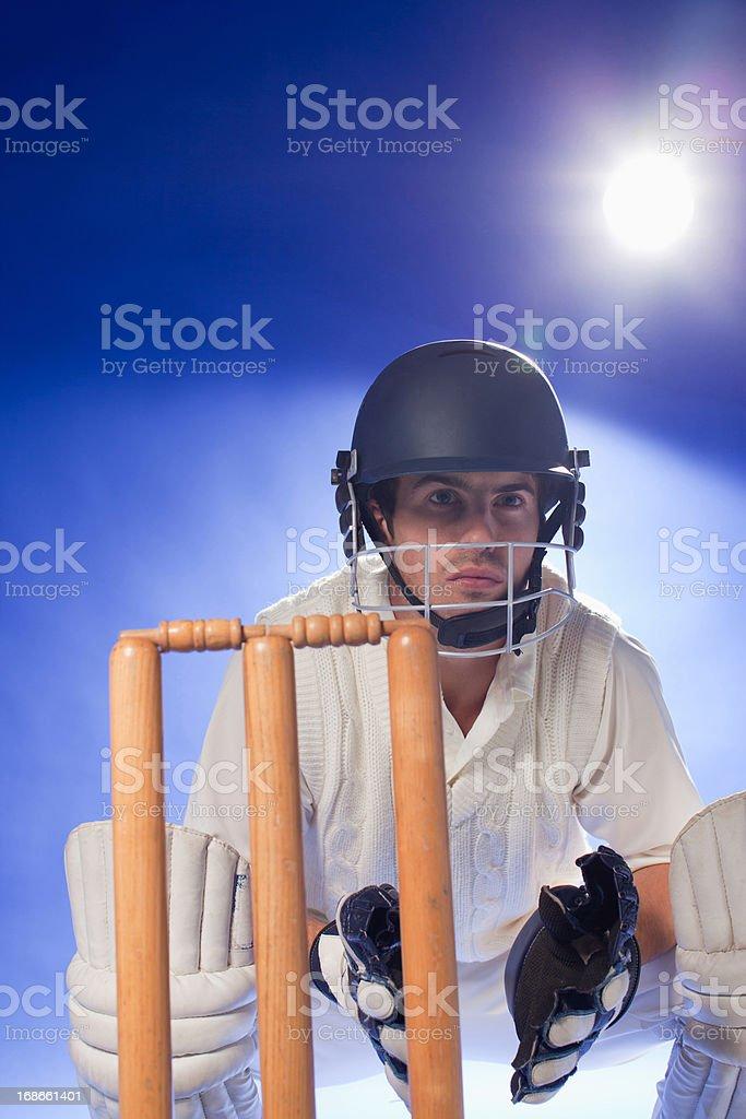 Cricket player waiting at bats royalty-free stock photo