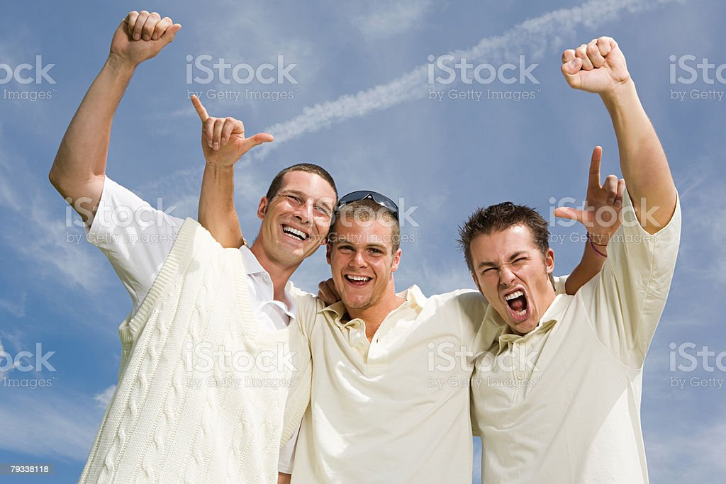Jogadores Celebrando Críquete foto de stock royalty-free