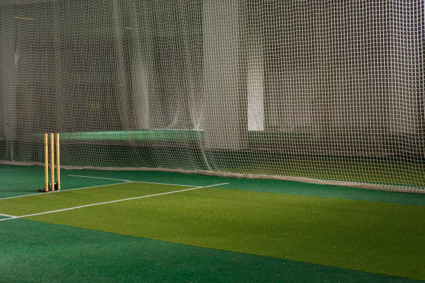 Cricket Practice Nets and Stumps stock photo