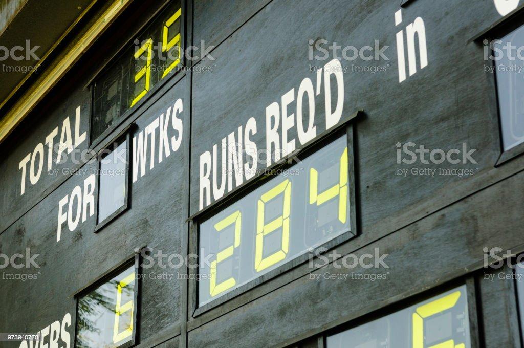 Cricket-Anzeigetafel zeigt die Anzahl der läuft erforderlichen – Foto